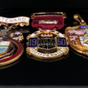 A HALLMARKED 9ct GOLD AND ENAMEL MAYORS MEDALLION, ENGRAVED WITH ENAMEL BANNERS 1951-54, AND FLOREAT