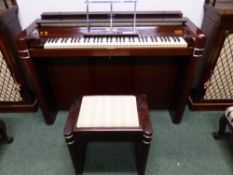 AN ART DECO MAHOGANY CASED UPRIGHT EAVESTAFF PIANETTE MINIPIANO AS USED BY PRINCESSES, ELIZABETH,