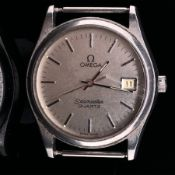 A GENTS VINTAGE STAINLESS STEEL OMEGA SEAMASTER QUARTZ WATCH, HEAD ONLY. SILVER DIAL, DATE WHEEL