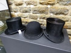 TWO SILK PILE TOP HATS AND A BOWLER, THE FORMER BY LINCOLN BENNETT AND HOPE BROTHERS, THE INSIDE