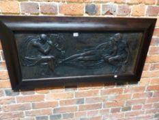 AFTER HARRY BATES (1850-99), A FRAMED COPPER RELIEF PANEL OF BLIND HOMER PLAYING HIS LYRE TO A