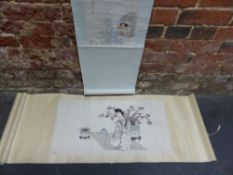 TWO CHINESE SCROLLS, ONE PAINTED WITH A VIEW THROUGH A WINDOW ONTO TWO LADIES SEWING. 26 x 21cms.