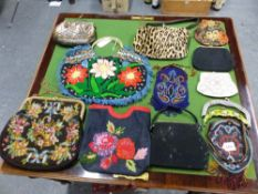 A COLLECTION OF ELEVEN EMBROIDERED AND BEADED HANDBAGS