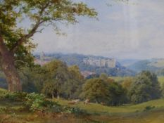 SUTTON PALMER (1854-1933). LOOKING DOWN THE VALLEY. WATERCOLOUR, SIGNED. 25 x 35cms.