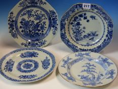 FOUR 18th C. CHINESE BLUE AND WHITE CIRCULAR PLATES TOGETHER WITH THREE OCTAGONAL PLATES, MAINLY