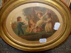 AFTER REYNOLDS AND OTHERS. A GROUP OF FIVE ANTIQUE AND LATER DECORATIVE PRINTS OF CHILDREN AND