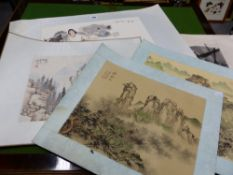 FIVE CHINESE MOUNTED BUT UNFRAMED PICTURES, TO INCLUDE THREE MOUNTAINOUS LANDSCAPES, A MILKING SCENE