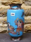 A JAPANESE BLUE GROUND CLOISONNE VASE WORKED WITH TWO WARRIORS BELOW A TREE. H 30.5cms.