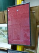 A FRAME OF WILLIAM MORRIS CROWN IMPERIAL PATTERN RED MOHAIR DAMASK WITH FOLIAGE SCROLLING ABOUT