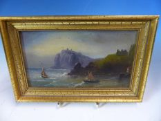 LATE 19th.C. ENGLISH SCHOOL. A ROCKY COASTLINE. OIL ON GLASS, INDISTINCTLY SIGNED. 12 x 20cms.