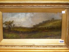 19th.C. ENGLISH SCHOOL. A RURAL LANDSCAPE WITH SHEEP AND CATTLE. OIL ON CANVAS. 21 x 41cms.