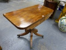 A 19th C. MAHOGANY GAMES TABLE, THE RECTANGULAR TOP SWIVEL OPENING TO REVEAL A BAIZE INSET, THE