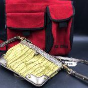 MUI MUI HAND BAGS. A GREY LEATHER AND ORANGE SUEDE HAND BAG, POPPER CLASP CLOSURE, DETACHABLE