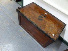 A COFFER WITH EBONISED DETAILS, THE RECTANGULAR LID WITH A SHIELD CENTRAL TO AN INSCRIPTION COSTLY