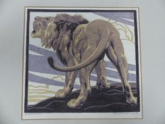 NORBERTINE BRESSLERN ROTH (1891-1978). ARR. LION. PENCIL SIGNED AND INSCRIBED LINO CUT. 21 x