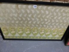 A FRAMED CHINESE EXPORT WOVEN SILK PANEL, THE CREAM GROUND WITH AN EDGING OF PINK ROSE STEMS AND A
