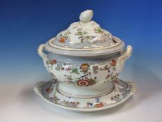 A PAIR OF 19th C. ENGLISH PORCELAIN TWO HANDLED SOUP TUREENS, COVERS AND STANDS PAINTED WITH