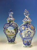 TWO 19th C. DUTCH DELFT POLYCHROME VASES AND COVERS OF FLATTENED BALUSTER SHAPE, ONE PAINTED WITH