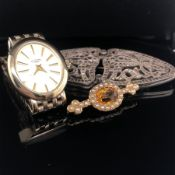 AN EDWARDIAN GOLD, SEED PEARL AND CITRINE BAR BROOCH, TOGETHER WITH A MARCASITE BROOCH AND DRESS