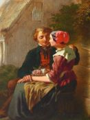 19th.C. CONTINENTAL SCHOOL. THE COURTSHIP. INDISTINCTLY SIGNED, INSCRIBED VERSO, OIL ON PANEL. 25