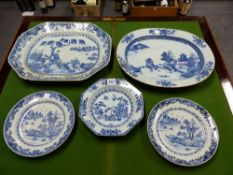 TWO 18th C. CHINESE BLUE AND WHITE PLATTERS, THE SMALLER OVAL. W 39.5cms. TOGETHER WITH THREE BLUE