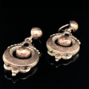 ANTIQUE 9ct OLD GOLD ORNATE DROP EARRINGS WITH A BALL DROP CENTRE THAT IS NOT GOLD. WEIGHT 2.9grms.