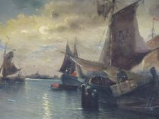 W. BUTTLER (19th.C. SCHOOL). A MOONLIT ESTUARY WITH FISHING BOATS. SIGNED OIL ON CANVAS. 38 x 59cms.