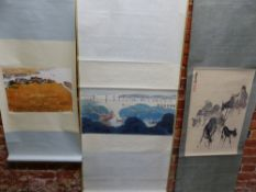 THREE CHINESE SCROLLS DEPICTING BOATS ON A RIVER AT CHERRY HARVEST TIME. 35 x 68cms. A MONGOLIAN