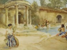 RUSSELL FLINT (1880-1969). ARR. WASHING DAY. PENCIL SIGNED COLOUR PRINT. 43.5 x 58cms.