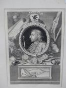 THREE EARLY ANTIQUE PORTRAIT PRINTS OF KINGS AFTER G. VERTUE. LARGEST 30 x 20cms. TOGETHER WITH A