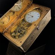A FINE ANTIQUE SILVER-GILT SKELETON-ESCAPEMENT TIMEPIECE SNUFF BOX. WITH FINELY ENGINE -TURNED AND