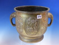 A 19th C. CHINESE BRONZE PLANTER CAST WITH THREE BIRD AND PLANT RESERVES EITHER SIDE OF THE ELEPHANT