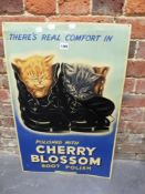 A PRINTED METAL SIGN FOR REAL COMFORT IN CHERRY BLOSSOM BOOT POLISH. 74.5 x 48.5cms.