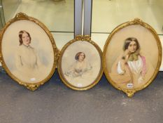 T A JONES AND OTHERS. THREE VICTORIAN FAMILY PORTRAIT DRAWINGS, WATERCOLOURS, FRAMED. 39 x 29cms THE