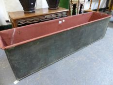 A RECTANGULAR COPPER TROUGH. W 112 x D 26 x H 30cms.