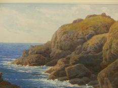 SAMUEL BOURNE (1834-1912). A PAIR OF ROCKY COASTAL VIEWS. WATERCOLOURS. 34.5 x 51cms (2).