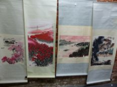 FOUR VARIOUS CHINESE SCROLLS, DEPICTING SHIPPING ON A RIVER. 48 x 68cms. HOUSES BELOW CRAGS. 69 x