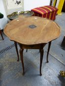 AN ARTS AND CRAFTS MAHOGANY TABLE THE WAVY EDGED CIRCULAR TOP WITH CENTRAL EBONISED FLOWER HEAD, THE