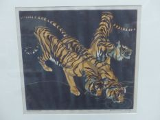 NORBERTINE BRESSLERN ROTH (1891-1978). ARR. TIGERS. PENCIL SIGNED AND INSCRIBED LINO CUT. 23 x