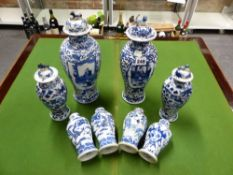 THREE PAIRS OF CHINESE BLUE AND WHITE VASES, TWO OTHERS AND FOUR VARIOUS COVERS, MAINLY WITH FOUR