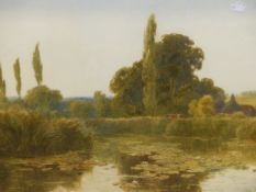 THOMAS PYNE (1843-1935). THE WATER MEADOW. SIGNED AND DATED 1881, WATERCOLOUR. 49 x 69cms.