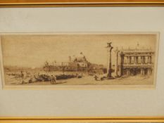 19th/20th.C. ENGLISH SCHOOL. A VIEW OF VENICE. INDISTINCTLY PENCIL SIGNED ETCHING. 14 x 31cms.
