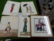 FOUR 19th CENTURY INDIAN UNFRAMED WATERCOLOURS OF FIGURES ASSOCIATED WITH PARTICULAR PURSUITS. 24