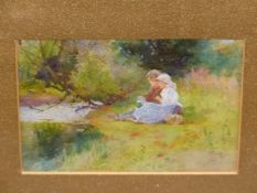 T. MACKAY (1851-1913). TWO VIEWS, PLAYING BY THE BROOK. BOTH SIGNED AND DATED 1892. WATERCOLOURS.
