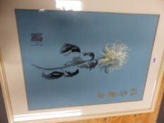 A CHINESE PAINTING OF A WHITE CHRYSANTHEMUM ON BLUE PAPER WITH GOLD SCRIPT TO ONE SIDE AND A SEAL
