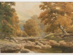 SAMUEL BOURNE (1834-1912). A RIVER VALLEY. WATERCOLOUR. 26 x 36cms.