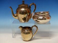 A DUTCH SILVER BACHELORS TEA SET, COMPRISING OF A TEA POT, CREAM JUG AND LARGE SUGAR BOWL, MARKED