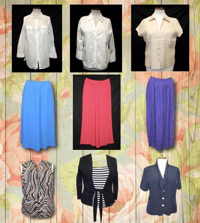Lot 419 - Ladies Modern Separates Size 12: Zara purple skirt, M&S blue skirt, M&S dark blue blouse, Kaliko