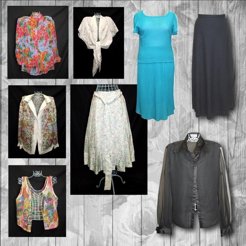 Lot 401 - Ladies Vintage Clothing: Liberty silk skirt, Ganitri white blouse, Anacapri floral blouse, sequinned