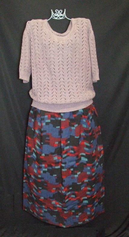Lot 417 - Ladies Vintage Clothing: Wallis brown skirt, cream polo neck jumper, Prova green knitted